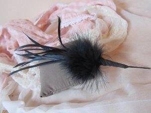 Schwarzer Stick aus verschiedenen Federn-zum Verbasteln an Hut, Haarschmuck usw