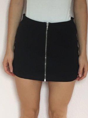 schwarzer Stoffrock mit Reißverschluss