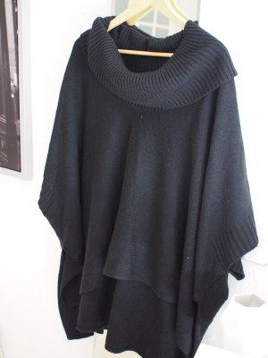 Schwarzer Strick Cape Pullover von H&M mit Rollkragen onesize