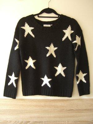 Schwarzer Strickpullover mit Sternenprint