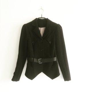 schwarzer taillierter klassischer blazer / gürtel / vintage / granny