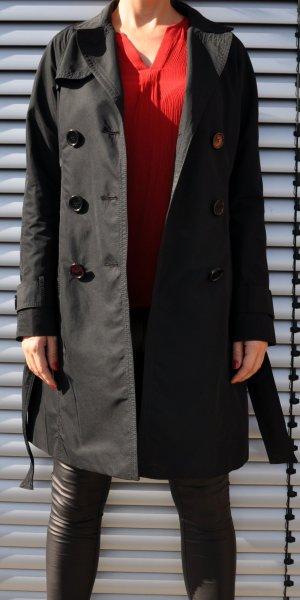 Schwarzer Trenchcoat mit Bindegürtel Hallhuber Donna Zweireiher