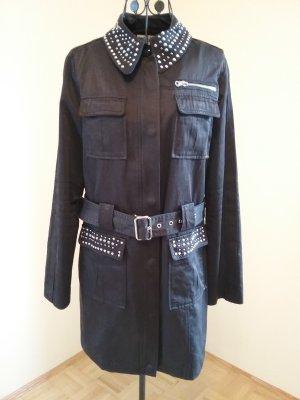 schwarzer Trenchcoat mit Pailletten