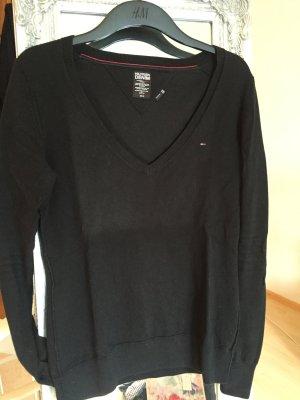 Schwarzer V-Neck Pullover von Hilfiger Denim