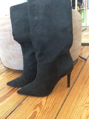 Schwarzer Velour Stiefel NEU