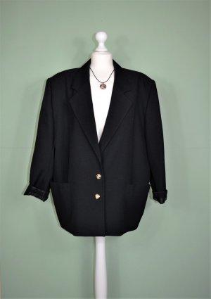 Schwarzer Vintage Blazer mit goldenen Knöpfen