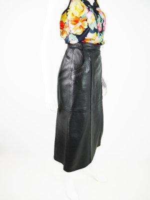 Schwarzer Vintage Leder Midi-Rock mit Seitentaschen