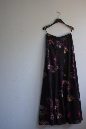 Schwarzer Vintage Rock mit Blumenmuster 36