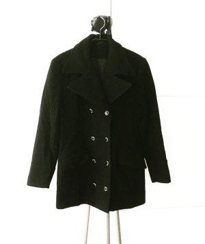 schwarzer vintage wollmantel