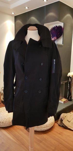 schwarzer Winter Mantel Schurwolle, Gr. M