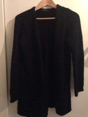 Schwarzer Woll Cardigan mit Taschen