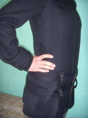 Schwarzer Wollmantel / Belted Coat, S, NEU