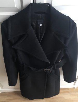 Manteau en laine noir tissu mixte