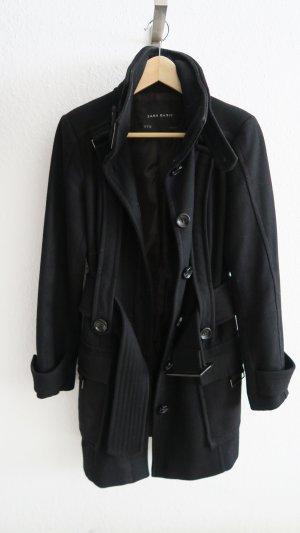 Zara Abrigo de lana negro Lana