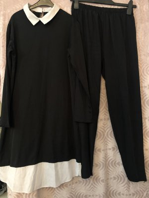 Traje de pantalón negro-blanco