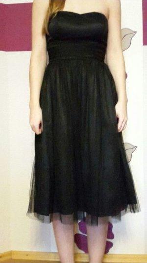 Schwarzes Abendkleid, Bandeaukleid mit Tüll in Größe 36