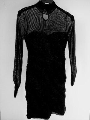 Schwarzes Abendkleid Etuikleid transparent und mit Glitzerpartikeln