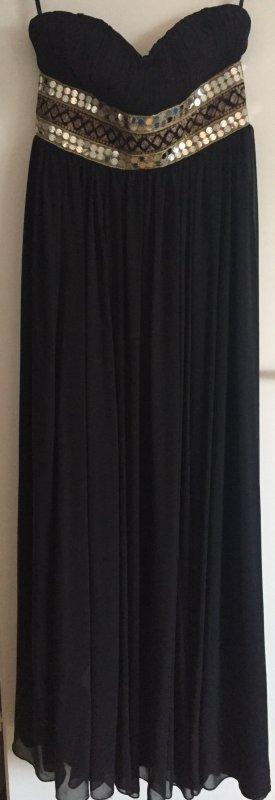 Schwarzes Abendkleid mit goldener Stickerei
