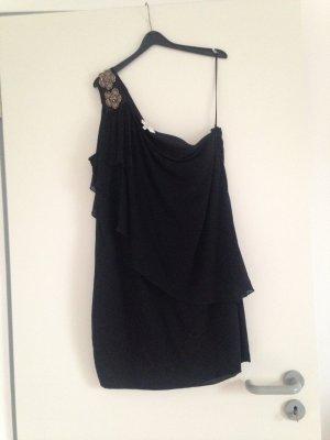 Schwarzes asymmetrisches Minikleid