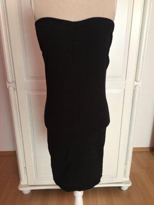 schwarzes Bandeau-Kleid lang Top