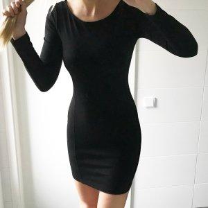 schwarzes basic langarm Kleid dickerer Stoff