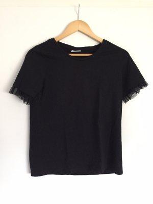 Schwarzes Basic Shirt mit Applikationen