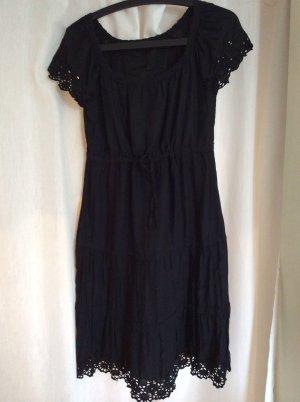 Schwarzes Baumwoll-Sommerkleid mit Lochmuster & Bindeband, neuwertig