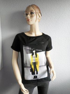 Schwarzes Blogger-Shirt mit Print