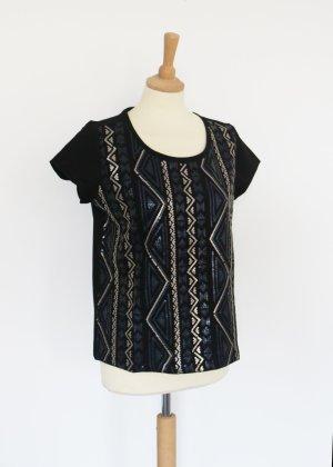 Schwarzes Blusen Shirt mit Pailletten gold marineblau 42 Esmara