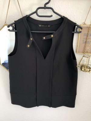 Zara Basic Cut Out Top black-gold-colored