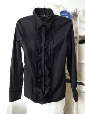 schwarzes Blusenhemd mit rüschenkragen