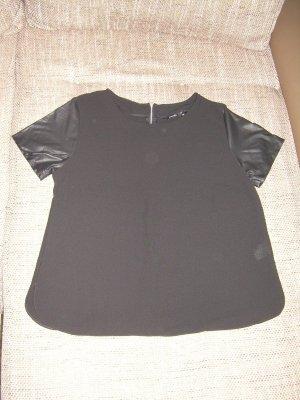 schwarzes Blusenshirt von Esmara Gr. 40/42 mit Kunstleder-Ärmeln Shirt Bluse