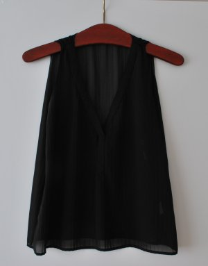 schwarzes Blusentop von MEXX, leicht durchsichtig, Cropped Style