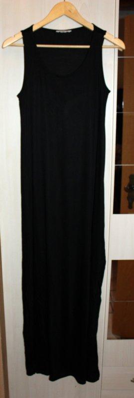 Schwarzes bodenlanges Kleid mit Schlitz Gr. M von H&M