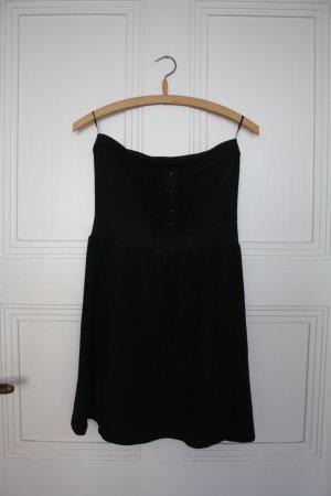 schwarzes Bustierkleid mit Knöpfen