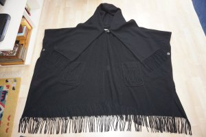 Schwarzes Cape Poncho Wolle