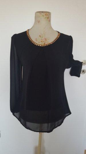 schwarzes Chiffon Shirt mit Kette