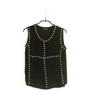 schwarzes chiffon top / shirt / vintage / nieten / silber