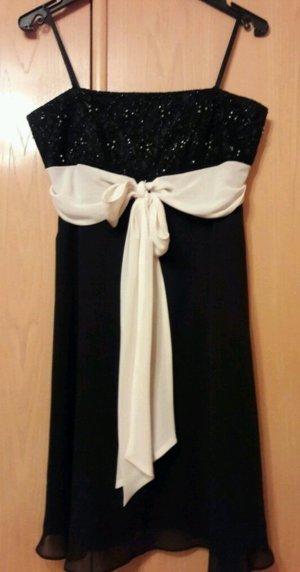 Marie Lund Vestido de chifón negro-blanco puro