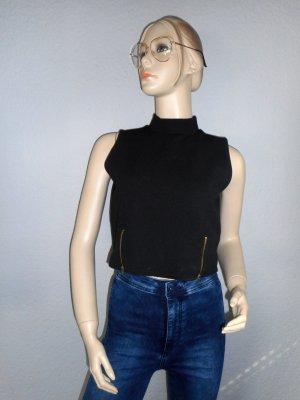 Schwarzes Crop-Top mit leichtem Kragen