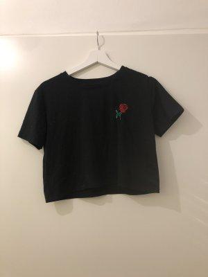 Cropped shirt zwart