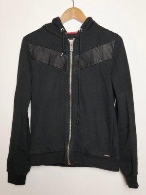 Schwarzes Diesel Sweatshirt mit Echt Leder
