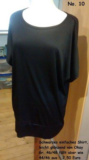 Schwarzes einfaches Shirt leicht glänzend Gr. 44/46