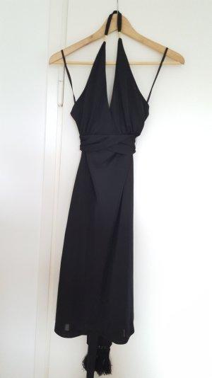 Banana Republic Vestido de cuello Halter negro-marrón arena tejido mezclado