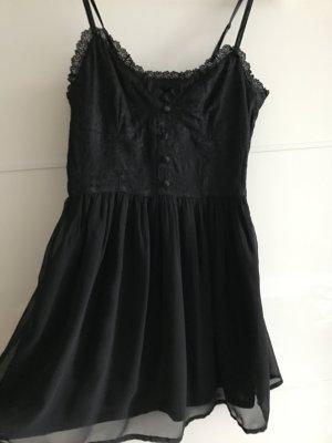 Schwarzes elegantes Kleid mit Spagettiträgern/Spitze