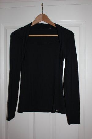 Schwarzes, elegantes Langarm-Shirt mit Bolerooptik Gr.S