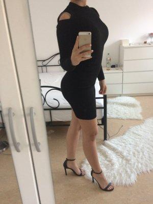 Schwarzes Enges Schulterfreies Kleid Mittelang Abendskleid Sommerkleid