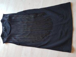 schwarzes enges Shirt mit attraktiven, beweglichen Fransen # Grösse : L