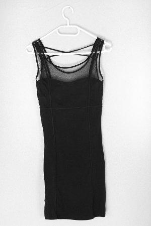 Schwarzes figurbetontes Kleid mit Mesheinsatz