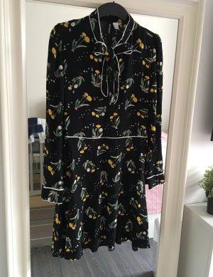 Schwarzes geblümtes Kleid knielang Gr. 38 H&M